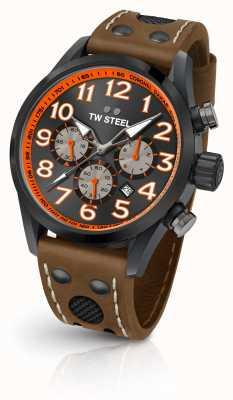 TW Steel Coronel dakar edição limitada pulseira de couro marrom mostrador preto TW975