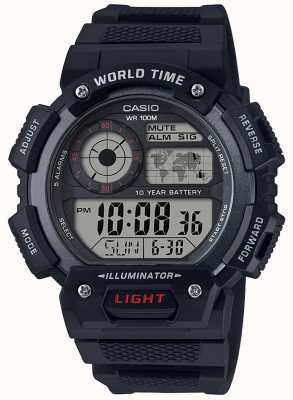 Casio Cronógrafo clássico com alarme de hora mundial AE-1400WH-1AVEF