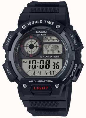 Casio Cronógrafo de alarme de hora mundial AE-1400WH-1AVEF