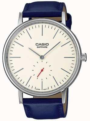 Casio Cristal de safira creme de discagem pulseira de couro genuíno azul LTP-E148L-7AEF