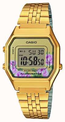 Casio Iluminado ouro pvd banhado a discagem de impressão floral LA680WEGA-4CEF