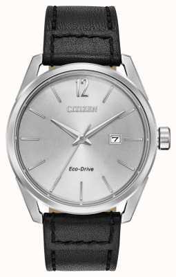 Citizen Data de discagem prata dos homens exibir pulseira de couro preto BM7410-01A