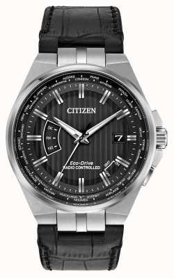 Citizen Mundo dos homens perpétua no mostrador preto pulseira de couro preto CB0160-00E