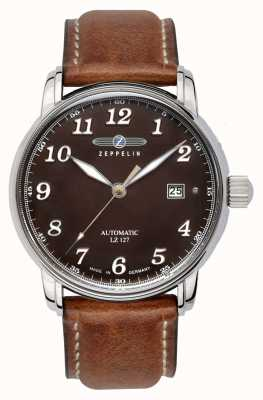 Zeppelin | série lz127 | data automática | pulseira de couro marrom | 8656-3