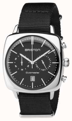 Briston Mens clubmaster cronógrafo de aço vintage preto têxtil 17140.PS.V.1.NB