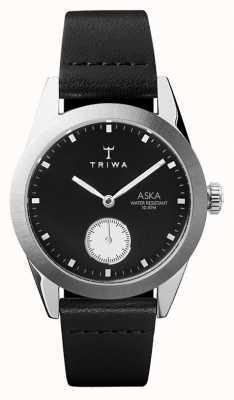 Triwa Slate aska preto dial aço inoxidável caixa de couro preto AKST107-SS010212