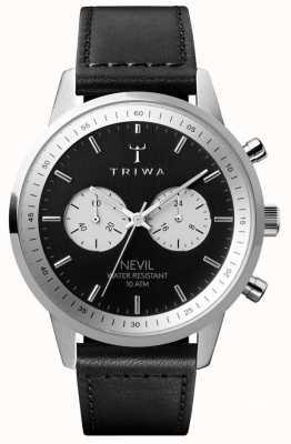 Triwa Slate nevil cronógrafo mostrador preto pulseira de couro preto NEST118-SC010112