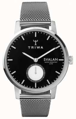Triwa Ébano svalan preto discagem pulseira de malha de aço inoxidável SVST103-MS121212