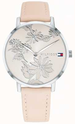 Tommy Hilfiger Pippa rosa prata floral impressão dial rosa pulseira de couro nude 1781919