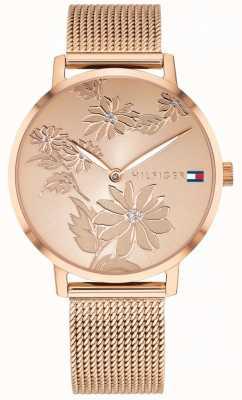 Tommy Hilfiger Pippa subiu de discagem de impressão floral ouro rosa caso de ouro e malha 1781922
