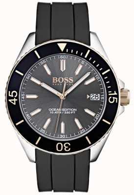Hugo Boss Edição de oceano cinza mostrador de data de marcação pulseira de borracha preta 1513558