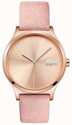 Lacoste Nikita subiu mostrador de ouro e pulseira de couro rosa caso 2001014