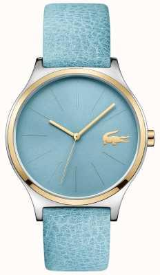 Lacoste Azul céu mostrador dois tons moldura azul pulseira de couro 2001012
