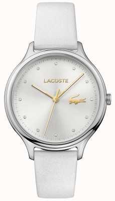 Lacoste Senhoras constance conjunto de cristal pulseira de couro branco mostrador prateado 2001005