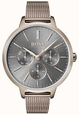 Boss Symphony grey dial dia e data malha cinta 1502424