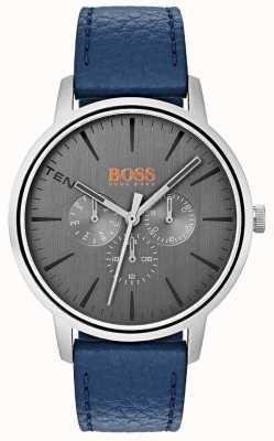 Hugo Boss Orange Cinzento dial dia e data sub mostrador pulseira de couro azul 1550066