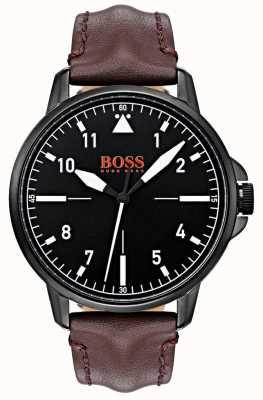 Hugo Boss Orange Mostrador preto caixa de couro marrom escuro pulseira preta ip revestido 1550062