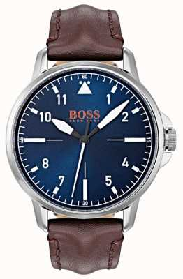 Hugo Boss Orange Marcador azul marcadores brancos marrom escuro pulseira de couro genuíno 1550060