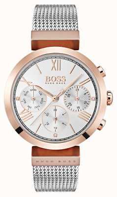 Hugo Boss Mostrador de prata dia e data exibir numerais romanos pulseira de malha 1502427
