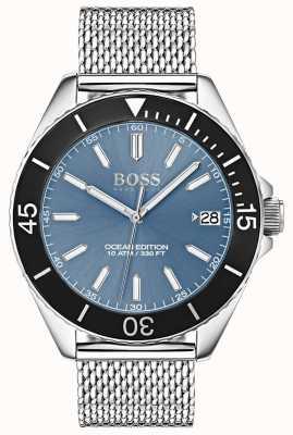 Boss Luz azul mostrador preto moldura oceano edição malha cinta 1513561