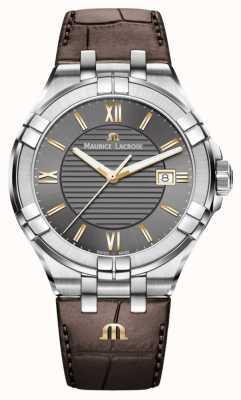 Maurice Lacroix Mens aikon pulseira de couro marrom subiu acentos de ouro AI1008-SS001-333-1