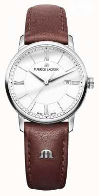 Maurice Lacroix Womens eliros brown pulseira de couro prata dialladies EL1094-SS001-110-1