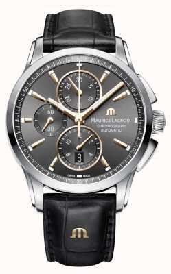 Maurice Lacroix Mens pontos pulseira de couro marrom marrom PT6388-SS001-331-1