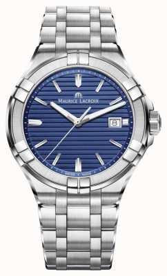 Maurice Lacroix Aikon mens pulseira de aço inoxidável mostrador azul AI1008-SS002-431-1