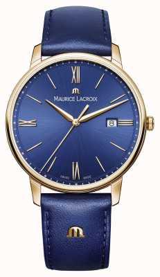 Maurice Lacroix Mens eliros banhado a ouro caso pulseira de couro mostrador azul EL1118-PVP01-411-1
