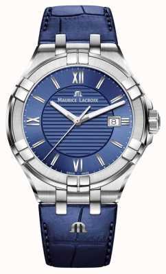 Maurice Lacroix Aikon mens blue dial pulseira de couro azul AI1008-SS001-430-1