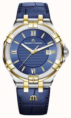Maurice Lacroix Mens aikon azul e ouro pulseira de couro de dois tons AI1008-PVY11-432-1