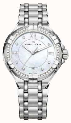 Maurice Lacroix Womens aikon mãe de pulseira de aço inoxidável de discagem pérola AI1006-SD502-170-1