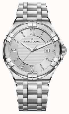 Maurice Lacroix Mostrador prateado pulseira de aço inoxidável das mulheres aikon AI1004-SS002-130-1