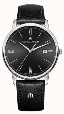 Maurice Lacroix Mens eliros pulseira de couro preto mostrador preto EL1118-SS001-310-1