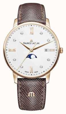Maurice Lacroix Eliros moonphase pulseira de couro marrom rosa banhado a ouro EL1096-PVP01-150-1