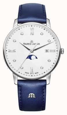 Maurice Lacroix Eliros moonphase pulseira de couro azul mostrador prateado EL1096-SS001-150-1