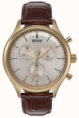 Hugo Boss Mens companheiro cronógrafo relógio pulseira de couro marrom 1513545