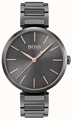 Hugo Boss Relógio de alusão das mulheres de ferro chapeado de aço preto 1502416
