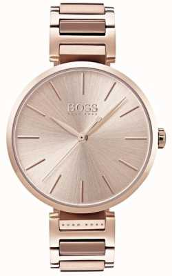 Hugo Boss Relógio de alusão das mulheres subiu tom de ouro 1502418