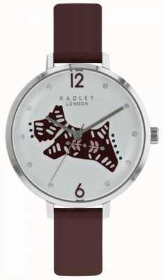 Radley Womens Folk Dog Watch prata pulseira de couro baga de discagem RY2581