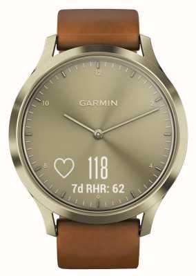 Garmin Vivomove hr premium atividade rastreador ouro / couro 010-01850-05