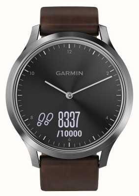 Garmin Vivomove hr (large) tracker de atividade premium em aço / couro 010-01850-04
