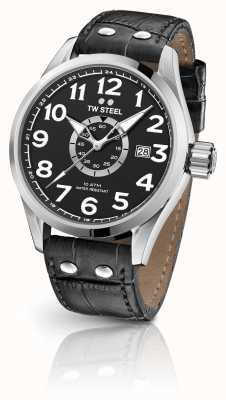 TW Steel Volante 45mm pulseira de couro preto mostrador preto VS51