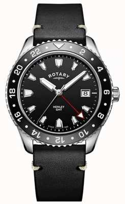 Rotary Mens henley gmt pulseira de couro preto mostrador preto GS05108/04