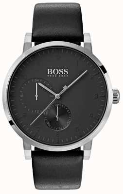 Hugo Boss Mens oxigênio todos os relógios pretos pulseira de couro sunray dial 1513594
