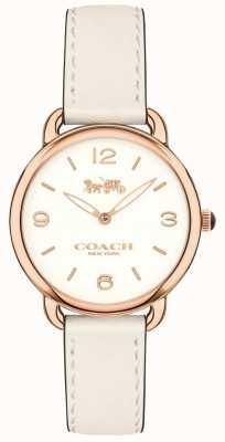 Coach Mulheres delancey slim pulseira de couro branco relógio mostrador branco 14502790