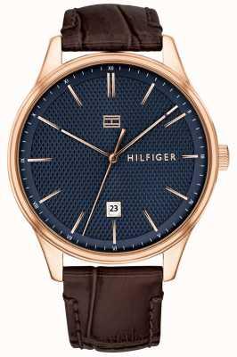 Tommy Hilfiger Relógio Damon masculino com pulseira de couro marrom, mostrador azul 1791493