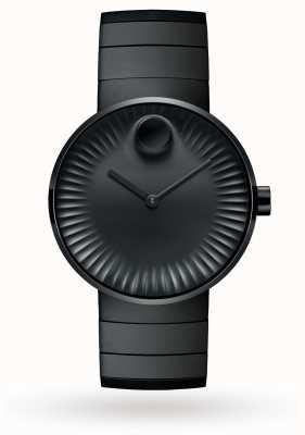 Movado Mens borda relógio preto aço ion banhado 3680007