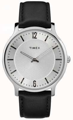Timex Mens slim skyline 40 milímetros caso tom de prata pulseira de couro preto TW2R50000