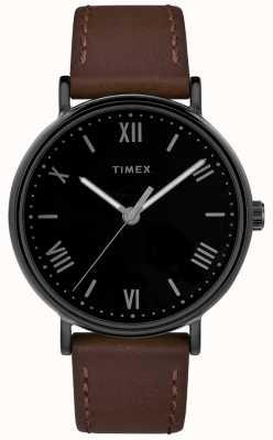 Timex Mens southview 41mm pulseira de couro marrom mostrador preto TW2R80300D7PF